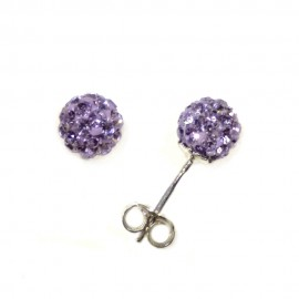 White gold 18kt 750/1000 with purple crystals spheres earrings