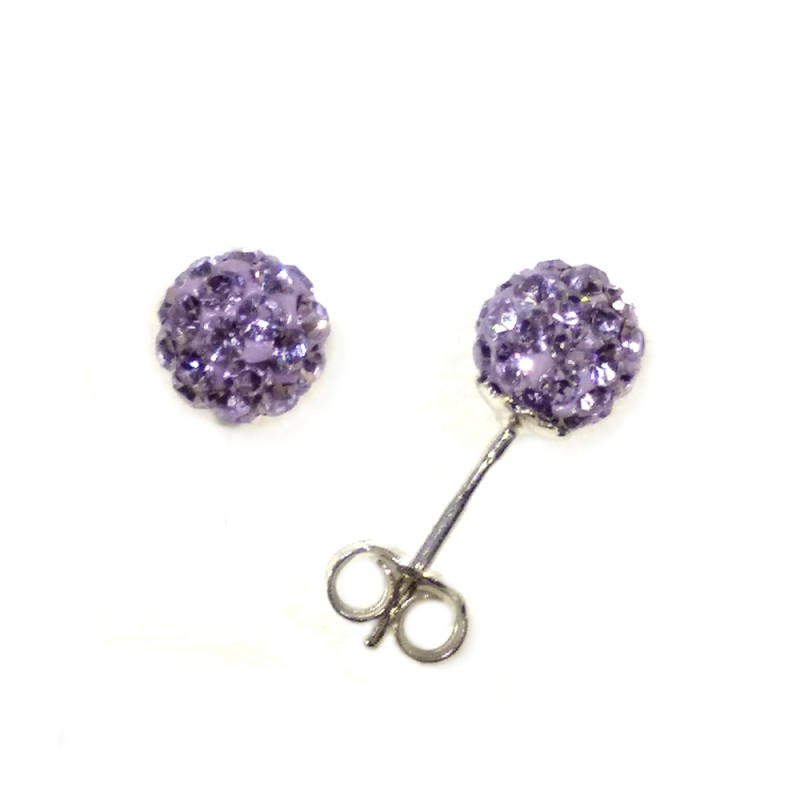 White gold 18k with purple crystals spheres earrings