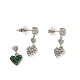 White gold 18k white and green stones double-face dangling earrings