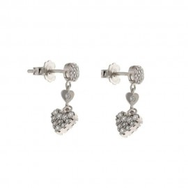 White gold 18k white cubic zirconia dangling hearts earrings
