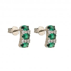 White gold 18k green and white stones Lumiere earrings