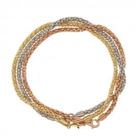 Bracciale in oro bianco, giallo e rosa 18 Kt 750/1000 modello Trittico da donna