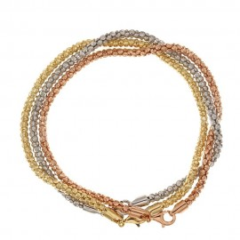 White, yellow and rose gold 18k Trittico type woman bracelet