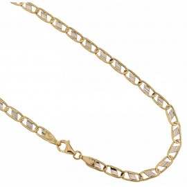 Yellow and white 18k gold shiny man chain