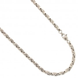 White gold 18k 750/1000 lined link chain man necklace
