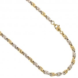 Yellow gold 18k 750/1000 lined chain man necklace