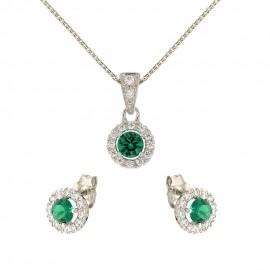 Parure in oro bianco 18 Kt con pietre verdi e bianche da donna