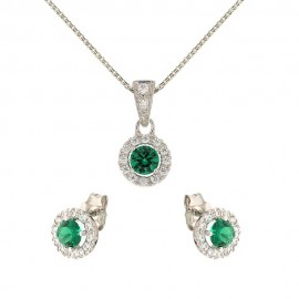 White gold 18kt 750/1000 green and white stones woman set