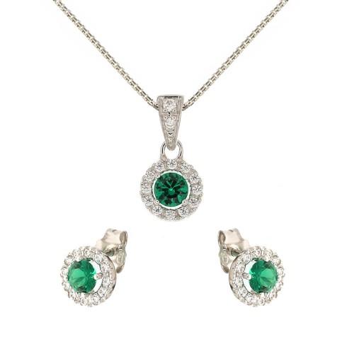 White gold 18k green and white stones woman set