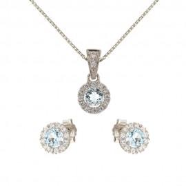 Parure in oro bianco 18 Kt 750/1000 con pietre azzurre e bianche da donna