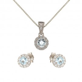 White gold 18k Light blue and white stones woman set