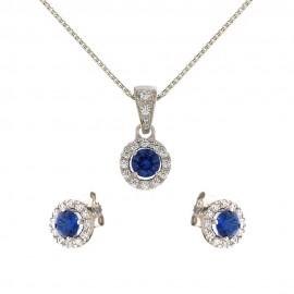 Parure in oro bianco 18 Kt 750/1000 con pietre blu e bianche da donna