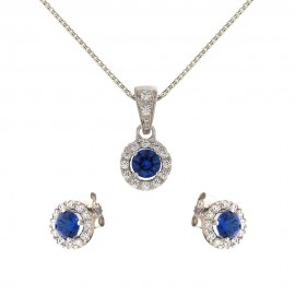 White gold 18kt 750/1000 blue and white stones woman set