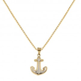 Yellow and white gold 18k 750/1000 with anchor shaped pendant unisex necklace