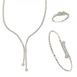 Parure da sposa in oro bianco 18 Kt 750/1000 stile Tennis con pendenti a goccia e zirconi bianchi