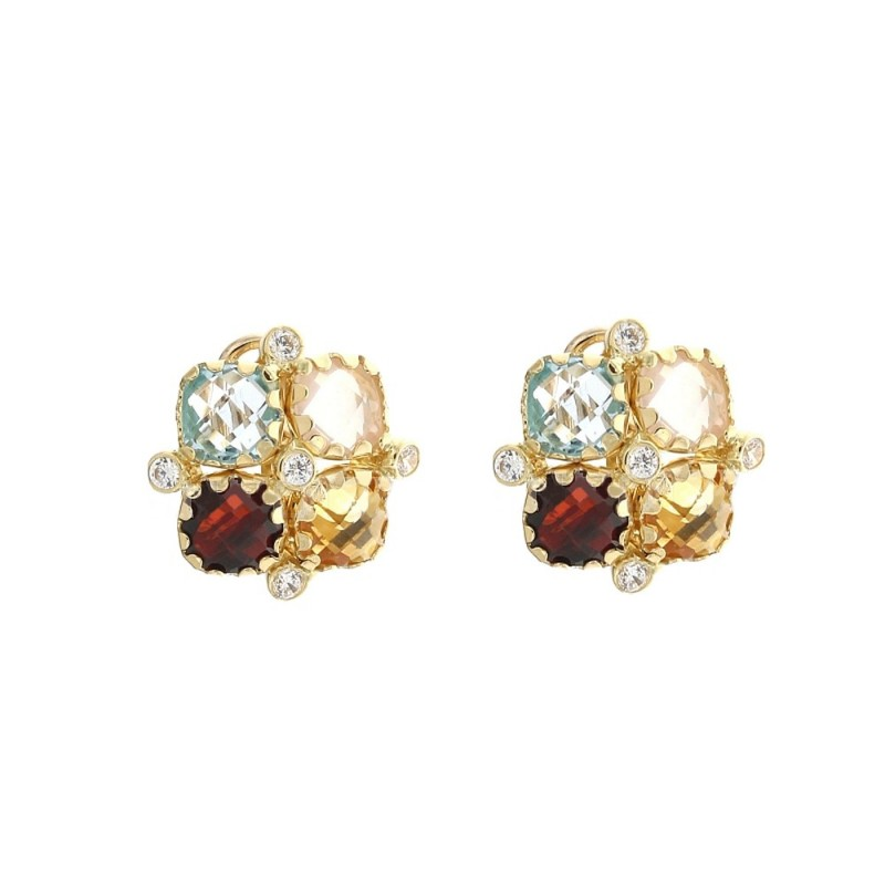 Yellow gold 18k 750/1000 colored quartz square shaped woman earrings