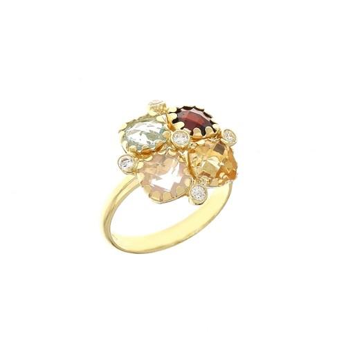 Anello con pietre colorate in oro giallo 18 Kt 750/1000 da donna