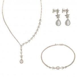 Parure da sposa in oro bianco 18 Kt 750/1000 con pendente a goccia e zirconi bianchi