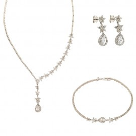 White gold 18k white cubic zirconia, drop pendant bridal set