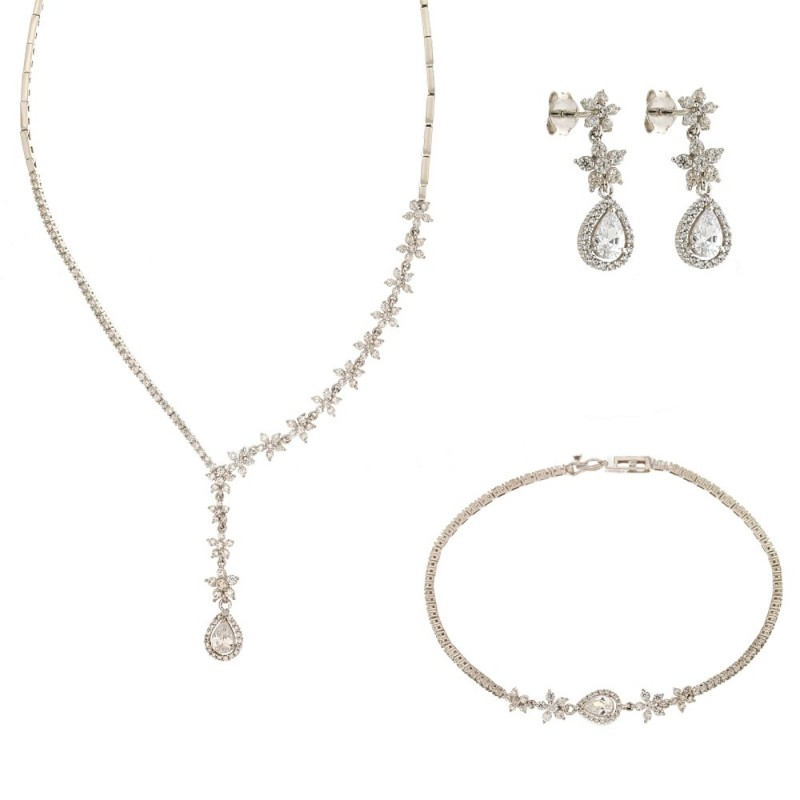 White gold 18k white cubic zirconia, drop pendant bridal set