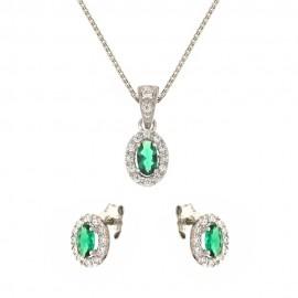 Parure in oro bianco 18 Kt 750/1000 con pietra verde e zirconi bianchi da donna
