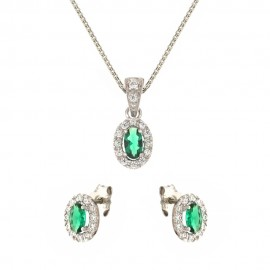 White gold 18kt 750/1000 green stone and white cubic zirconia woman set