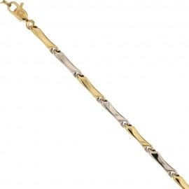 Gold 18 Kt 750/1000 shiny link chain man bracelet