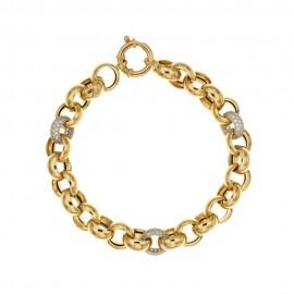 Bracciale a catena in oro giallo e bianco 18 Kt 750/1000 da donna