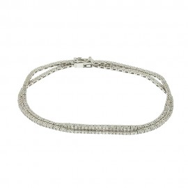 White gold 18k 750/1000 double wire Tennis woman bangle