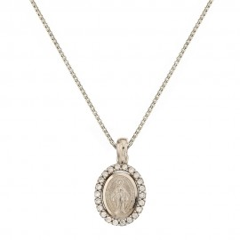 White gold 18k 750/1000 with Virgin Mary pendant woman necklace