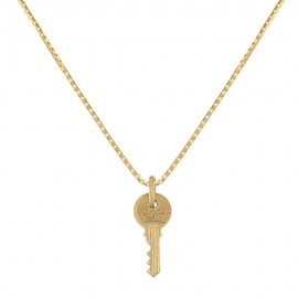 Yellow gold 18k 750/1000 key shaped pendant unisex necklace