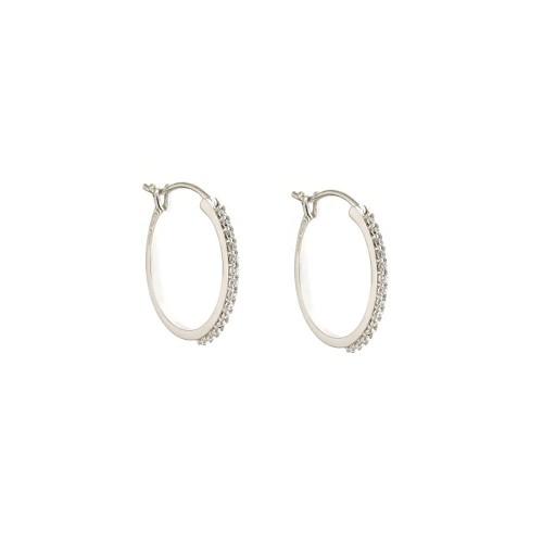 Orecchini cerchi in oro bianco 18 Kt 750/1000 con zirconi bianchi da donna