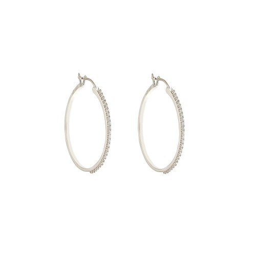 White gold 18k 750/1000 diameter 0.87 inch with cubic zirconia hoops woman earrings