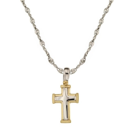 White and yellow gold 18k 750/1000 with cross pendant man necklace