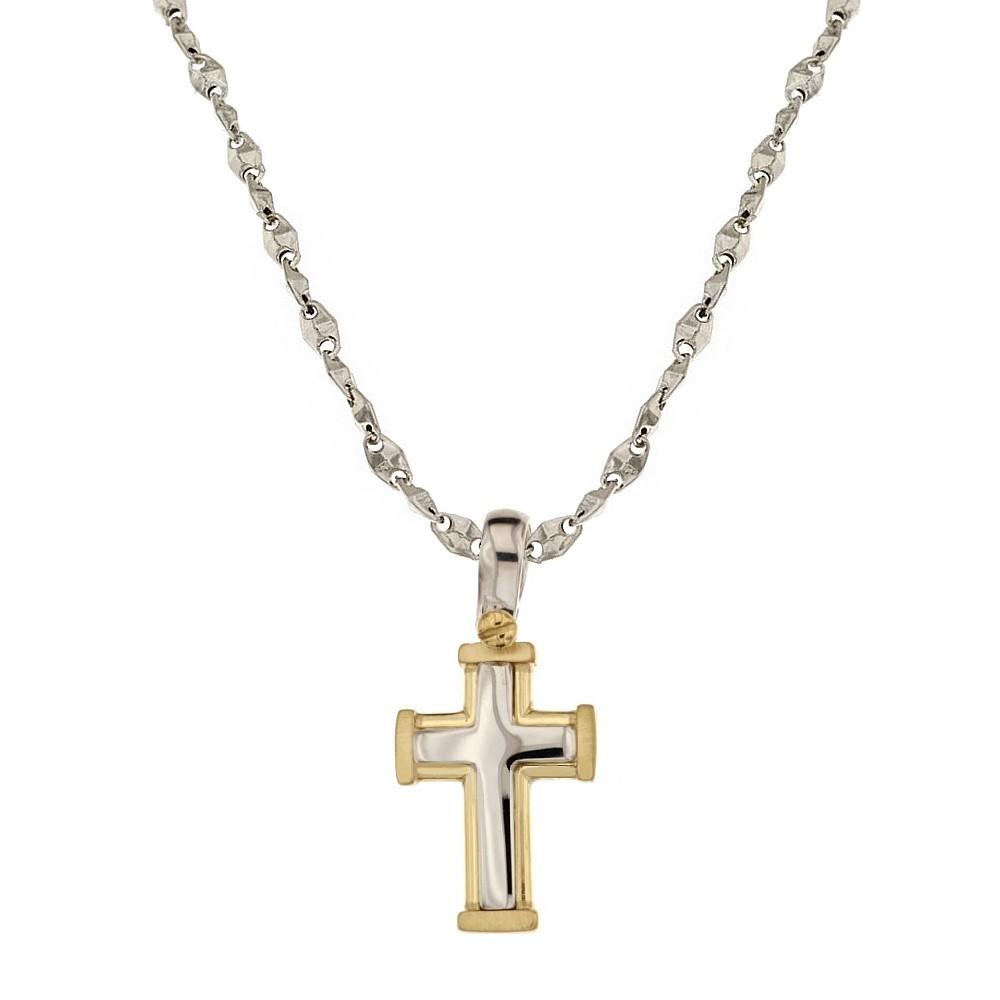 metà fuori bf898 2154b Collana in oro bianco e giallo 18 Kt 750/1000 con croce da uomo