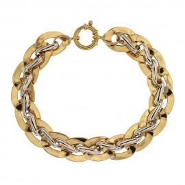 Bracciale in oro giallo e bianco, modello a catena vuota, lucido - larghezza max cm1.30