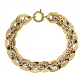 Yellow and white gold 18k 750/1000 width 0.52 inch chain woman bangle