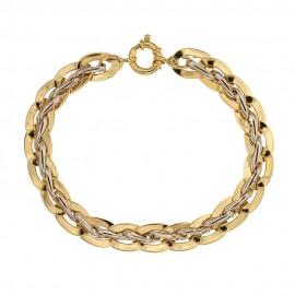 Bracciale in oro giallo e bianco 18 Kt 750/1000 lucido maglia Maori larghezza max cm1.00