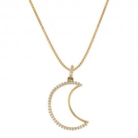 Yellow gold 18k 750/1000 white cubic zirconia moon shaped pendant woman necklace