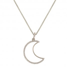 White gold 18k 750/1000 white cubic zirconia moon shaped pendant woman necklace