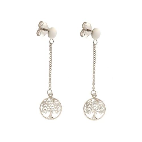 White gold 18k 750/1000 dangling Family Tree woman earrings