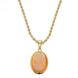 Collana in oro giallo 18 Kt 750/1000 con cammeo da donna