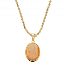 Yellow gold 18k 750/1000 with cameo pendant woman necklace