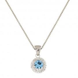 Collana in oro bianco 18 Kt 750/1000 con pietra azzurra e zirconi bianchi da donna