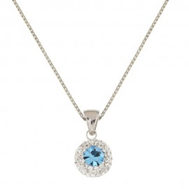 White gold 18k 750/1000 light blue stone and white cubic zirconia woman necklace
