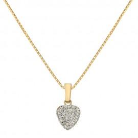 Collana in oro giallo 18 Kt 750/1000 con pendente cuore in resina e zirconi da donna