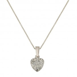 White gold 18k 750/1000 with white cubic zirconia heart pendant woman necklace