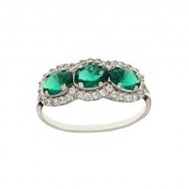 White gold 18k 750/1000 with green and white cubic zirconia woman ring