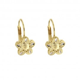 Yellow and white gold 18k 750/1000 with openworked flowers earrings