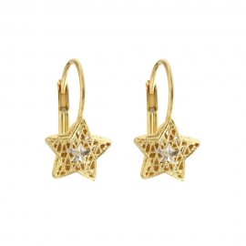 Yellow and white gold 18k 750/1000 star shaped openworked earrings
